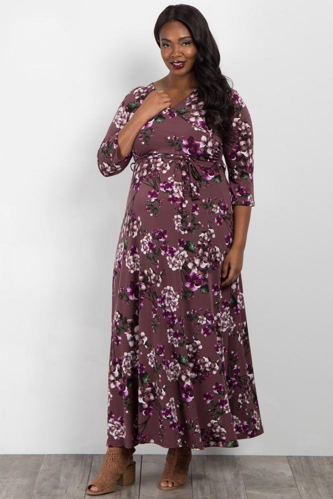 3a16e23d1b9 Purple Floral Wrap Maternity Nursing Maxi Plus Dress