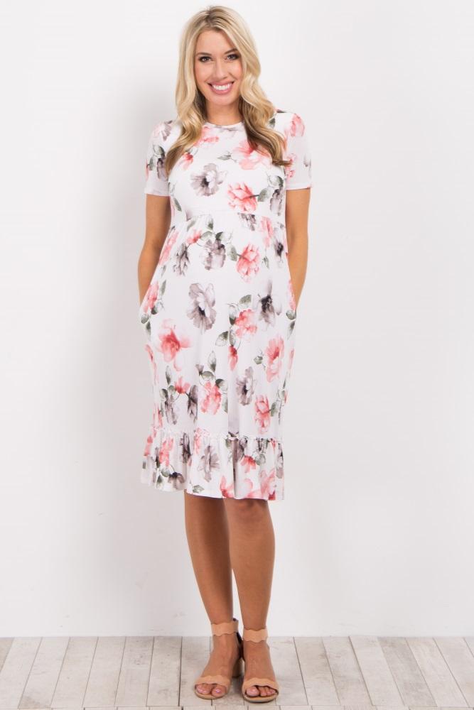 a8f61db7996b3 Ivory Floral Ruffle Trim Maternity Midi Dress
