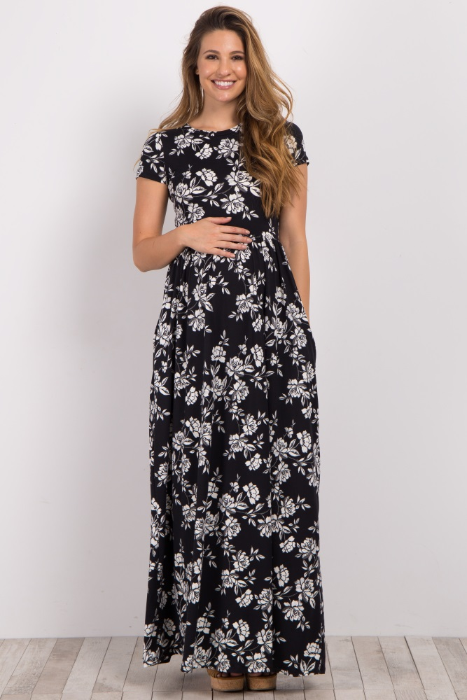 5c25a8ea097 Black Floral Short Sleeve Maternity Maxi Dress