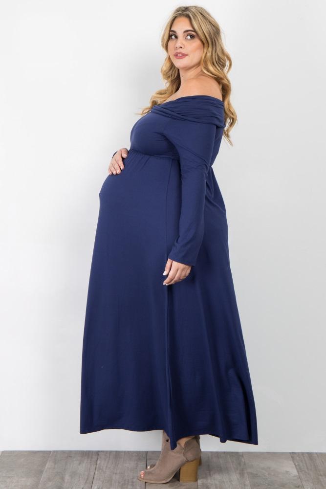 b1503ba43b41 Navy Blue Foldover Off Shoulder Plus Maternity Maxi Dress