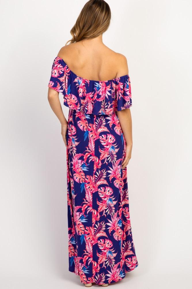 6d0920290b1b0 Purple Tropical Print Ruffle Trim Maternity Maxi Dress