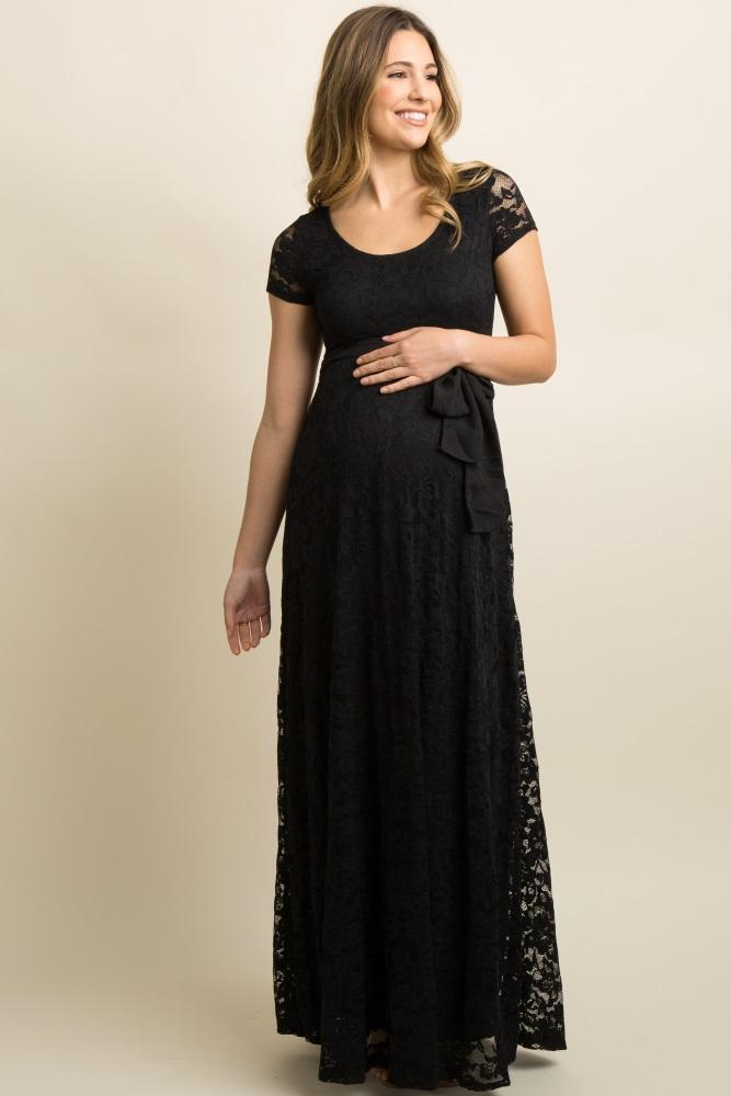 7ba63605ad0a4 Black Lace Sash Tie Maternity Gown