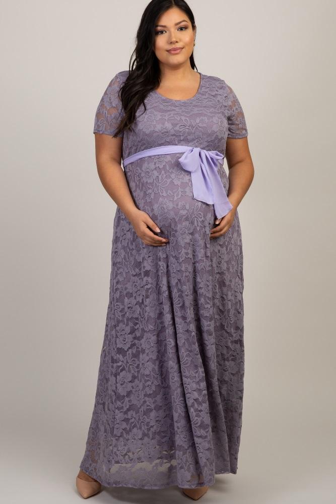 21a2f598c38cf Lavender Lace Sash Tie Plus Maternity Dress