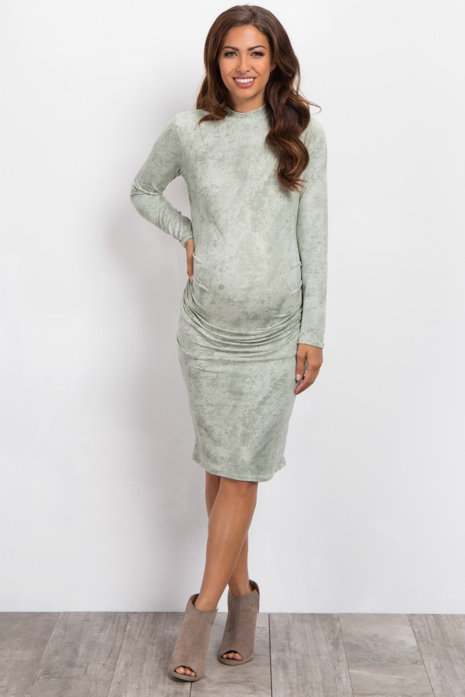 1cd93a6a8b8c3 Sage Mineral Wash High Neck Fitted Maternity Dress