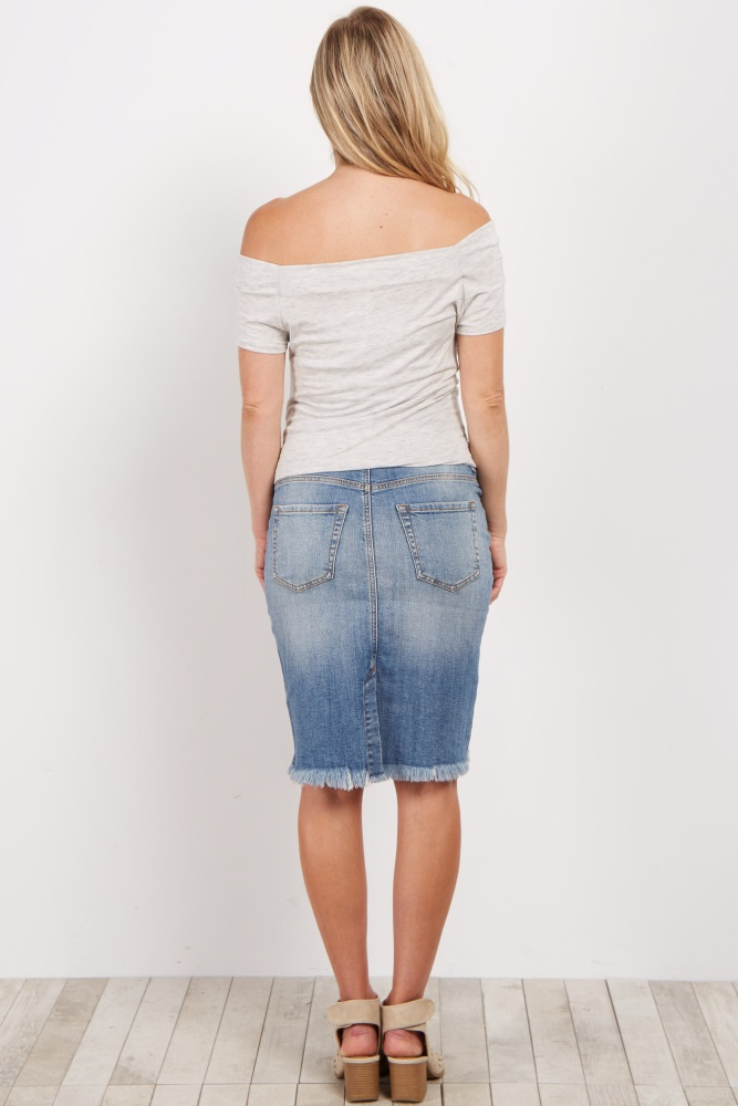 b9f83a441c4ae Blue Distressed Maternity Jean Skirt