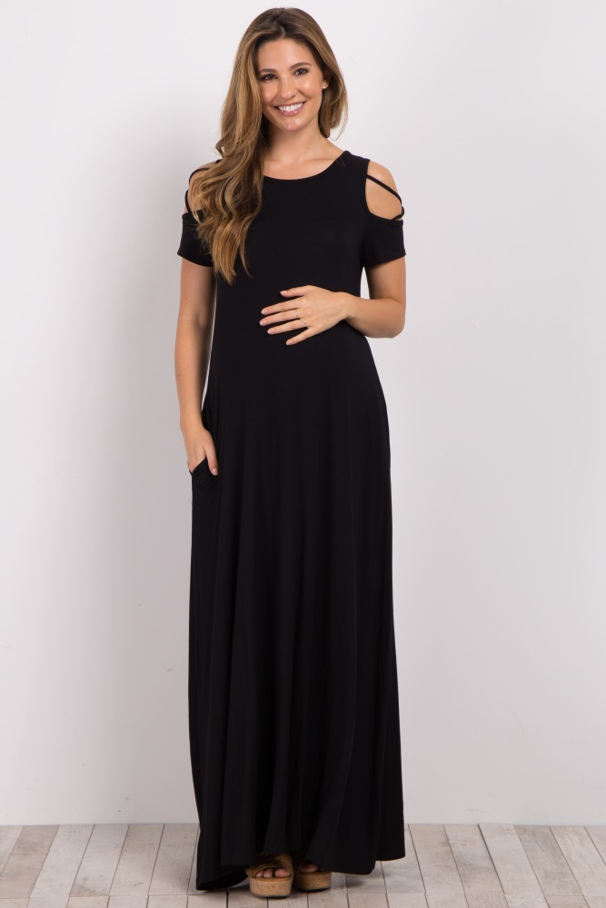 344db54069a Black Crisscross Shoulder Maternity Maxi Dress