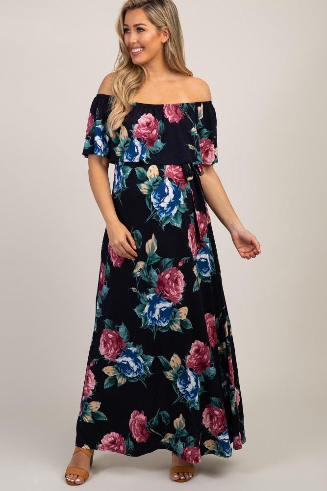 66b042432cf9 Navy Blue Floral Off Shoulder Sash Tie Maternity Maxi Dress