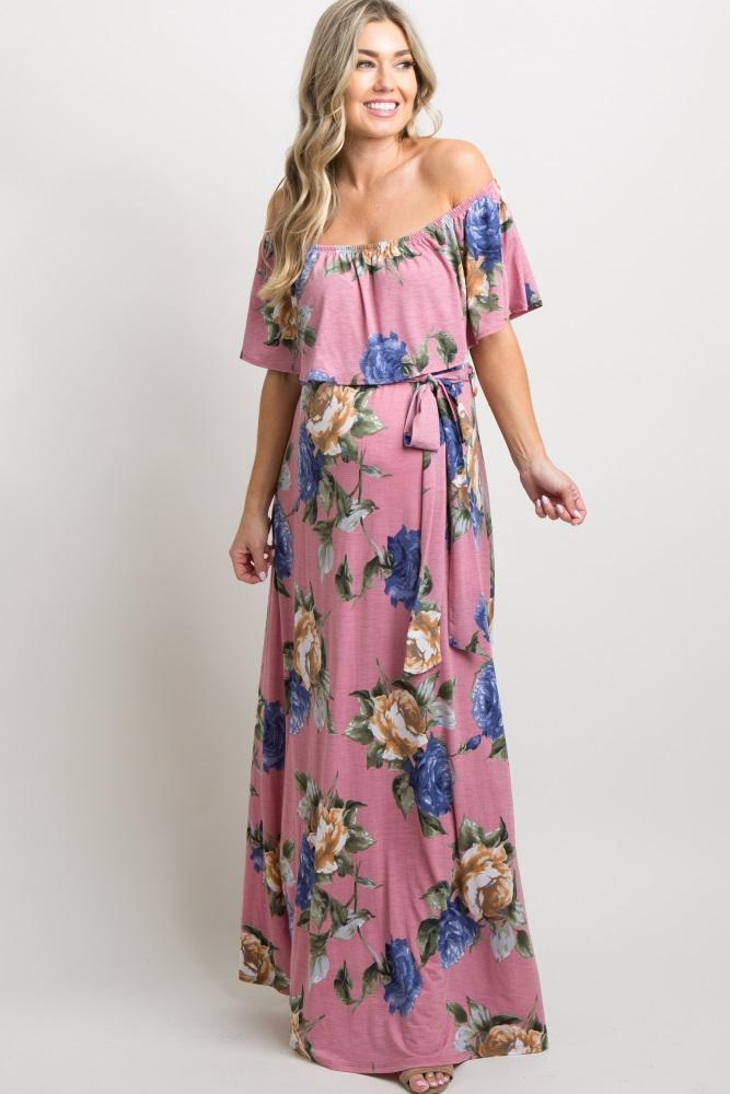 14787d773d2 Pink Floral Off Shoulder Sash Tie Maternity Maxi Dress
