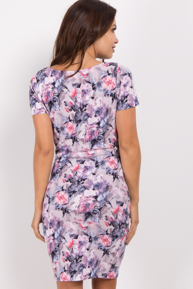 b4ab2bbae2d1b Lavender Abstract Floral Fitted Maternity Dress