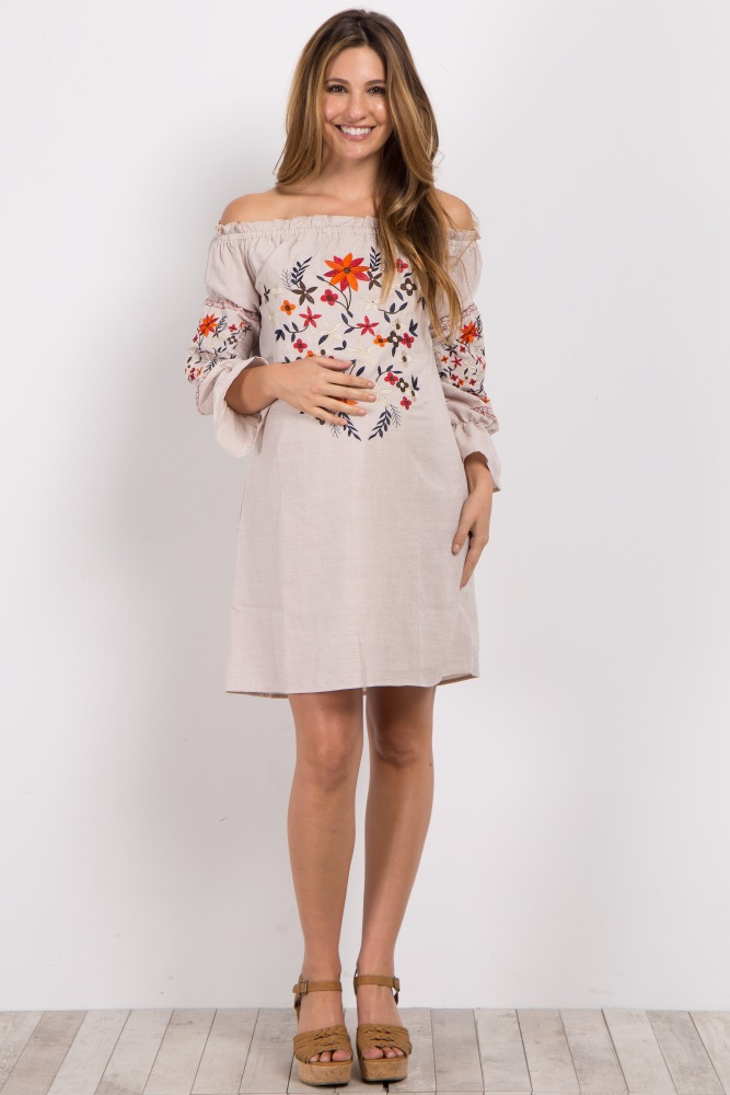 78806a2bcea0f4 Cream Embroidered Off Shoulder Maternity Dress