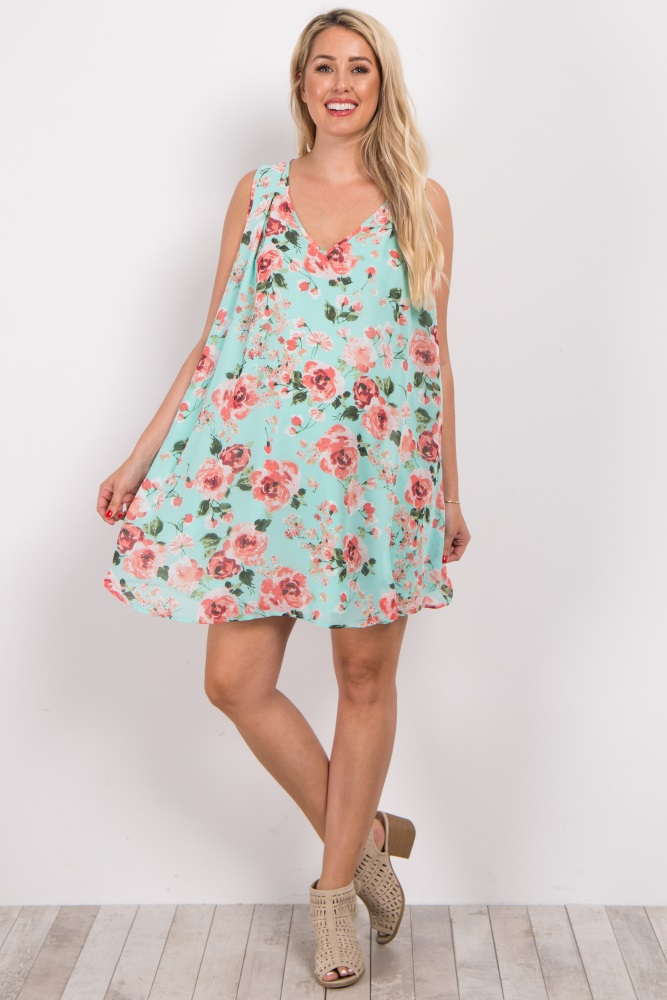 00ffab1216 Mint Green Floral Chiffon Sleeveless Maternity Dress