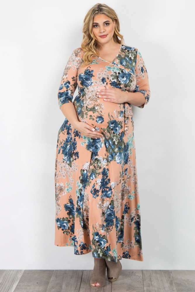 00d7a824ae9 Peach Floral Sash Tie Plus Maternity Nursing Maxi Dress