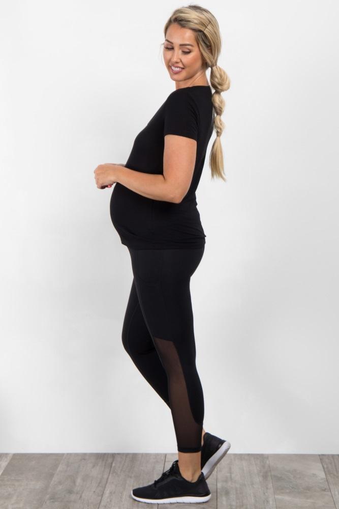 a582d275b0518 Black Active Mesh Pocket Maternity Leggings