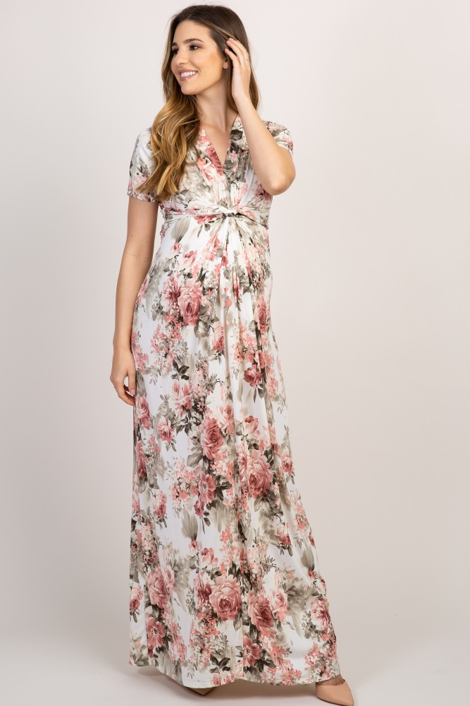 8612603412ee0 Ivory Floral V Neck Knot Front Maternity Maxi Dress