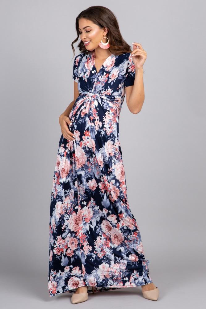 f755eef47e40e Navy Floral V Neck Knot Front Maternity Maxi Dress