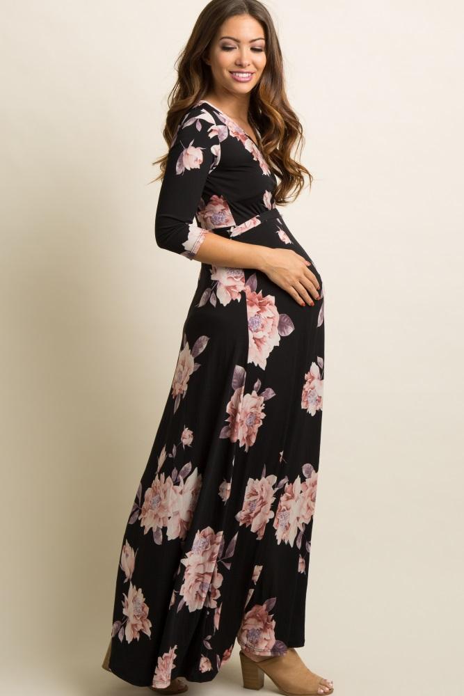 1c26a1cc28b Black Floral Print Maternity/Nursing Wrap Maxi Dress
