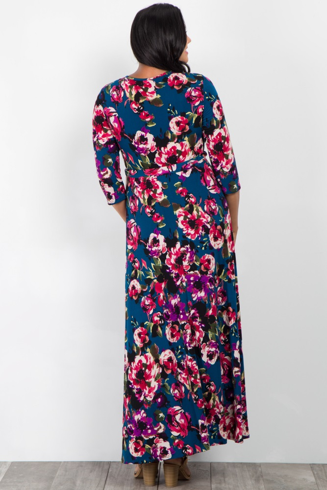 45486e507447 Teal Floral Sash Tie Plus Maternity/Nursing Maxi Dress