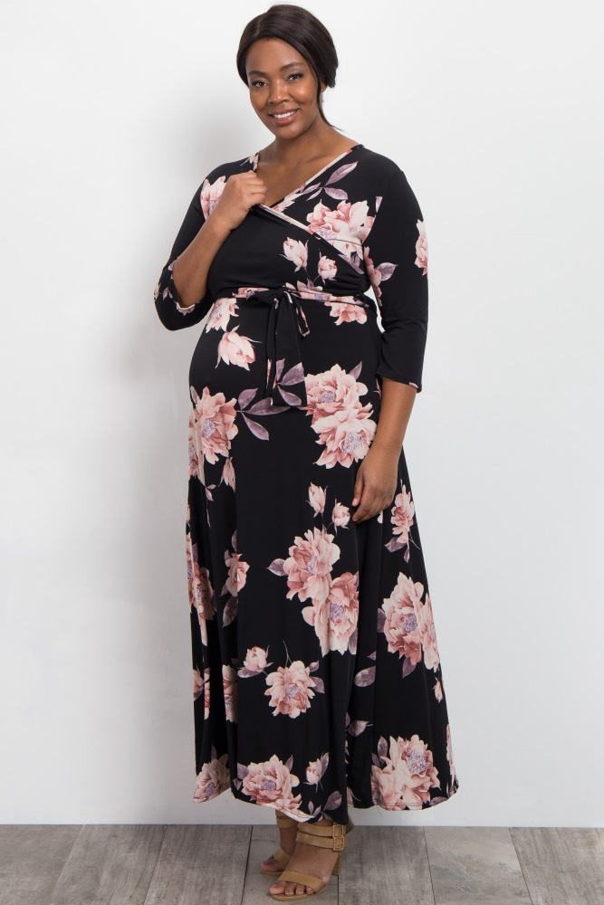 8e358a95d9d86 Black Floral Print Plus Maternity/Nursing Wrap Maxi Dress