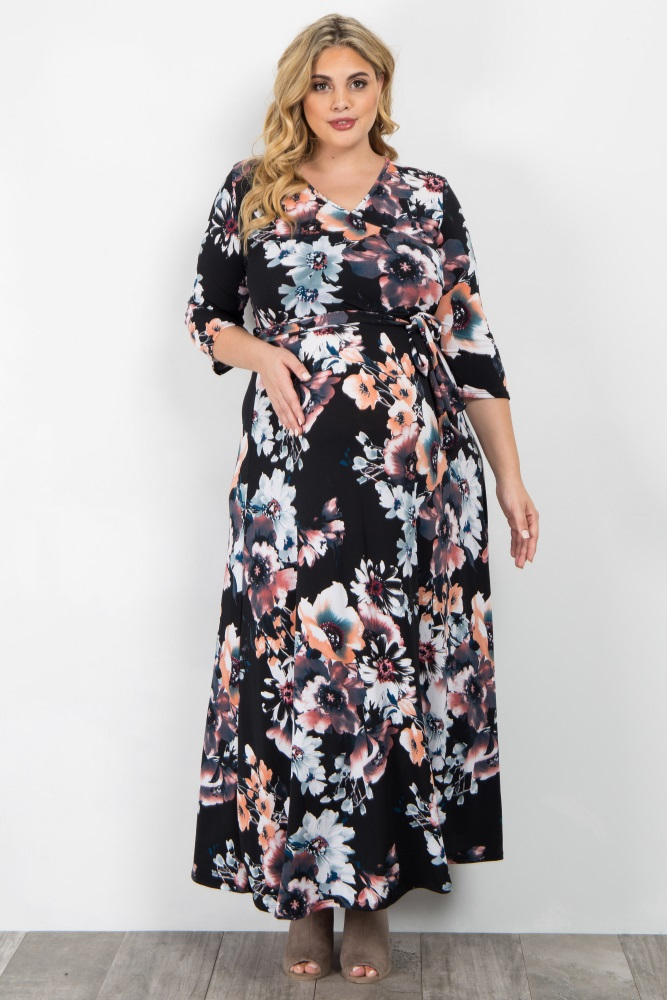 f6939a3f98fee Black Floral Sash Tie Wrap Plus Maternity/Nursing Maxi Dress