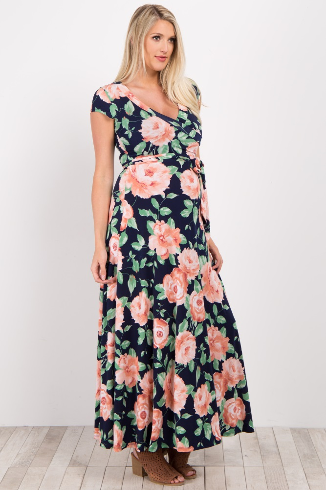8ae4a2675fe Peach Floral Short Sleeve Maternity/Nursing Wrap Maxi Dress
