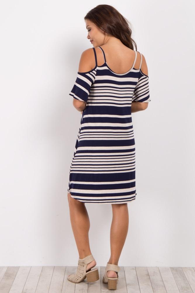 a025dfa6a6995 Navy Blue Alternating Striped Cold Shoulder Maternity Dress