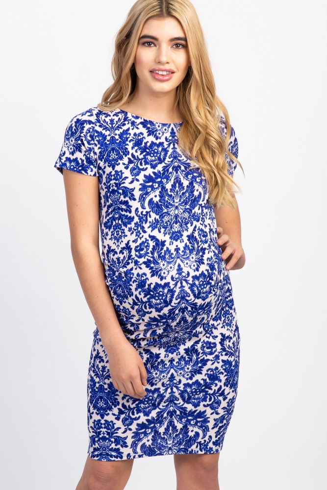 4f7c56e631897 Blue Printed Short Sleeve Fitted Maternity Dress