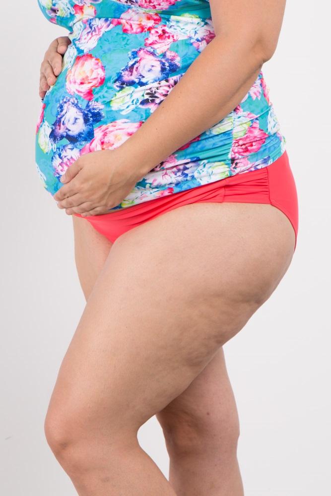c126935570d28 Coral Solid Basic Plus Maternity Bikini Bottoms