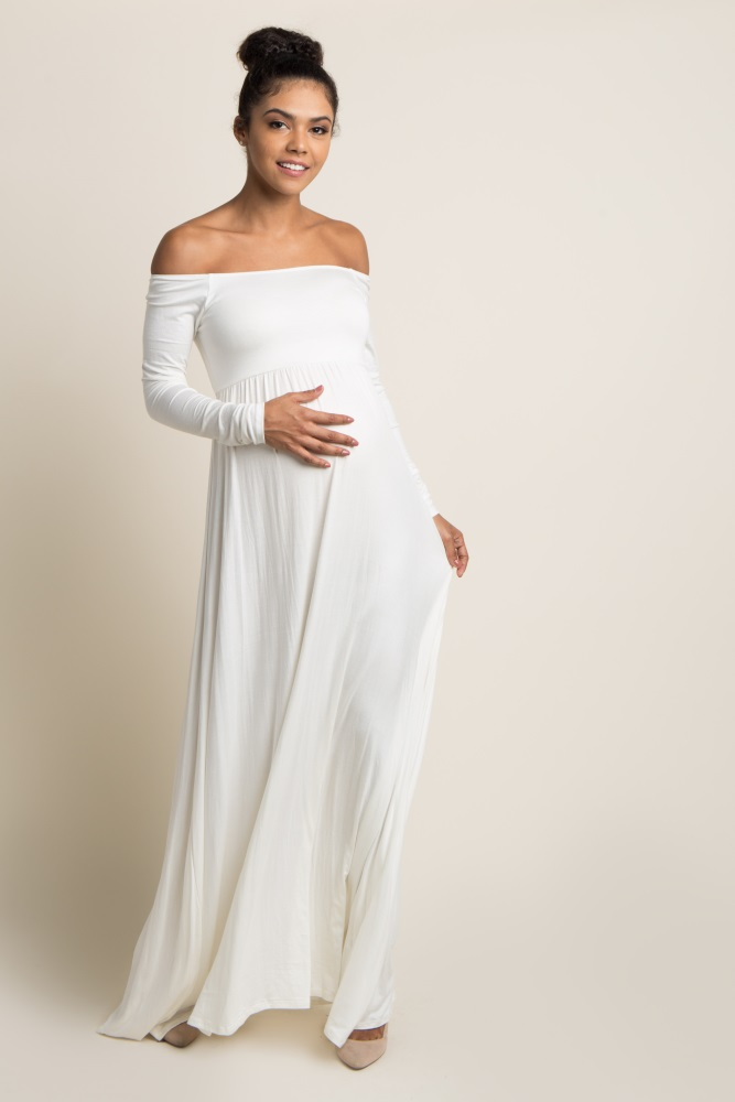 1560154a64b53 Ivory Solid Off Shoulder Maternity Maxi Dress
