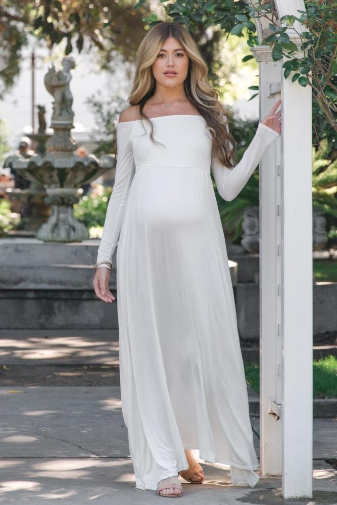 4d3ed741d5d0c Ivory Solid Off Shoulder Maternity Maxi Dress