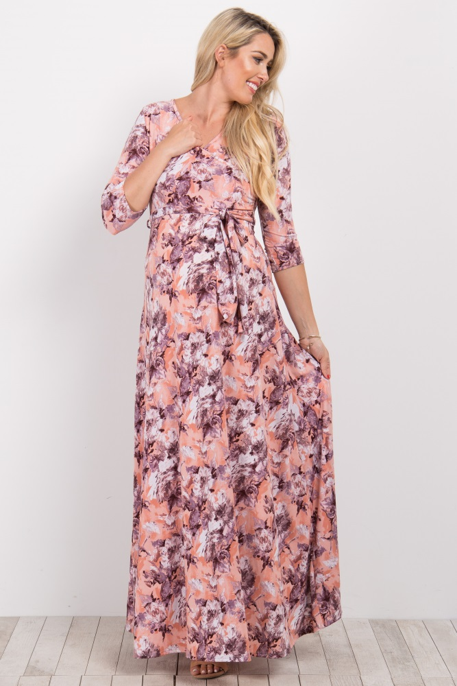 02866cbb974 Peach Abstract Floral Sash Tie Maternity Nursing Maxi Dress