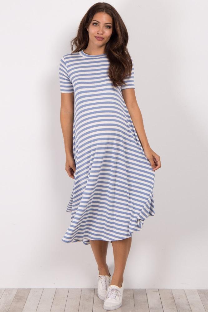 bd200c95ca Light Blue Striped Maternity Swing Dress