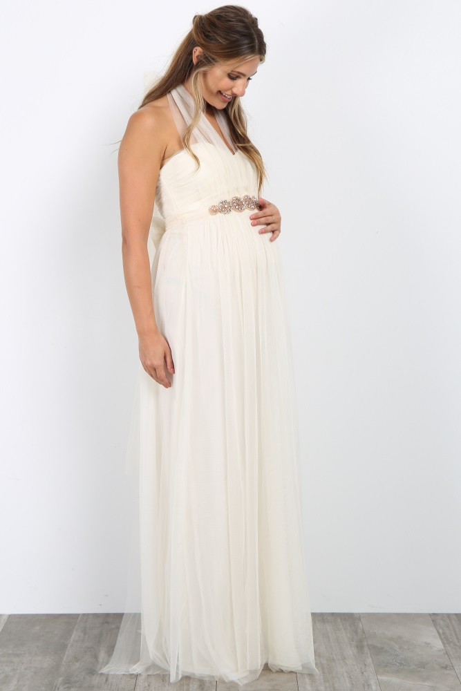 454220743fd0d Cream Rhinestone Accent Tulle Maternity Gown