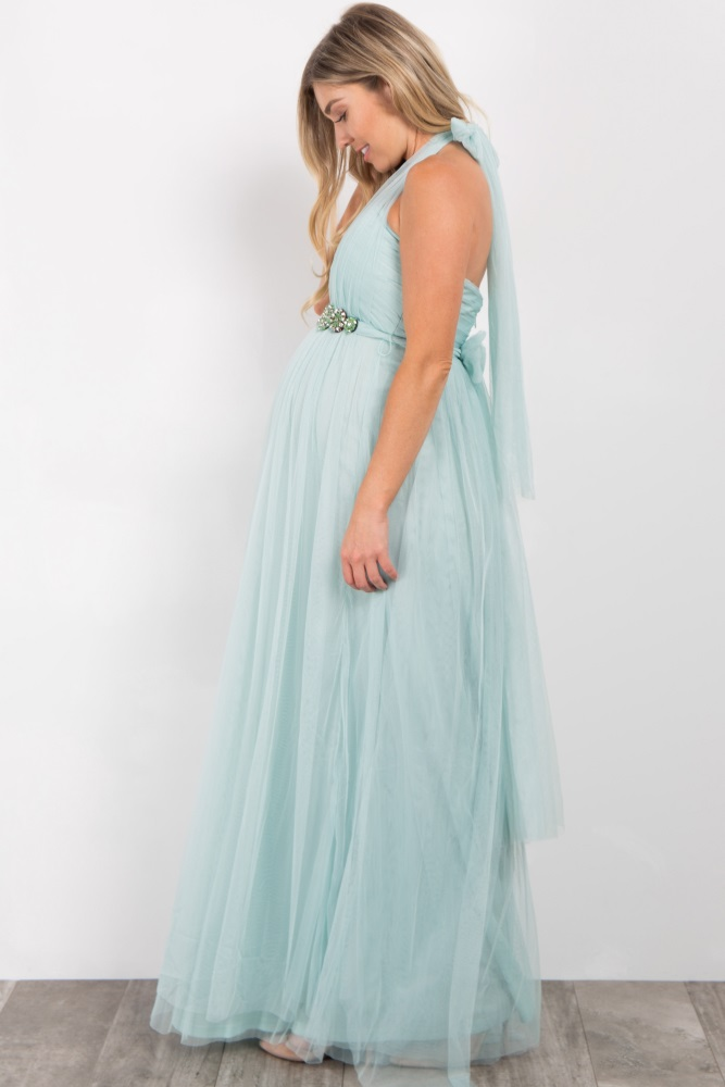 e684ab2ac1f27 Mint Green Rhinestone Accent Tulle Maternity Gown