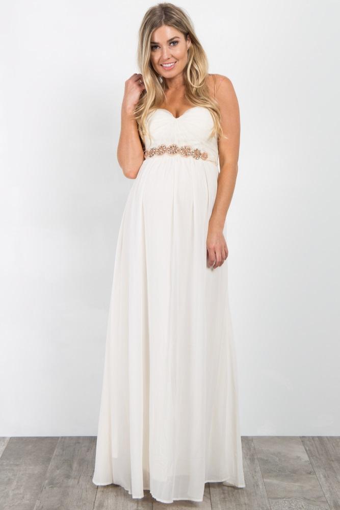 d8c431db5872d Cream Rhinestone Accent Strapless Maternity Gown