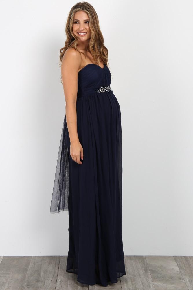 e33bea3708b3b Navy Blue Rhinestone Accent Strapless Maternity Gown