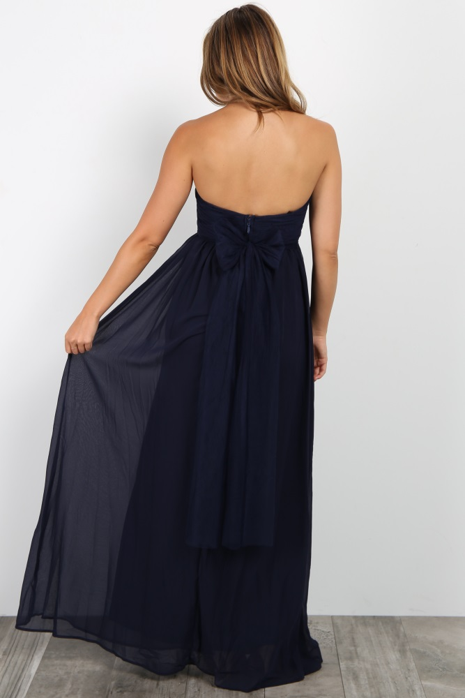 df3df4ab01173 Navy Blue Rhinestone Accent Strapless Maternity Gown