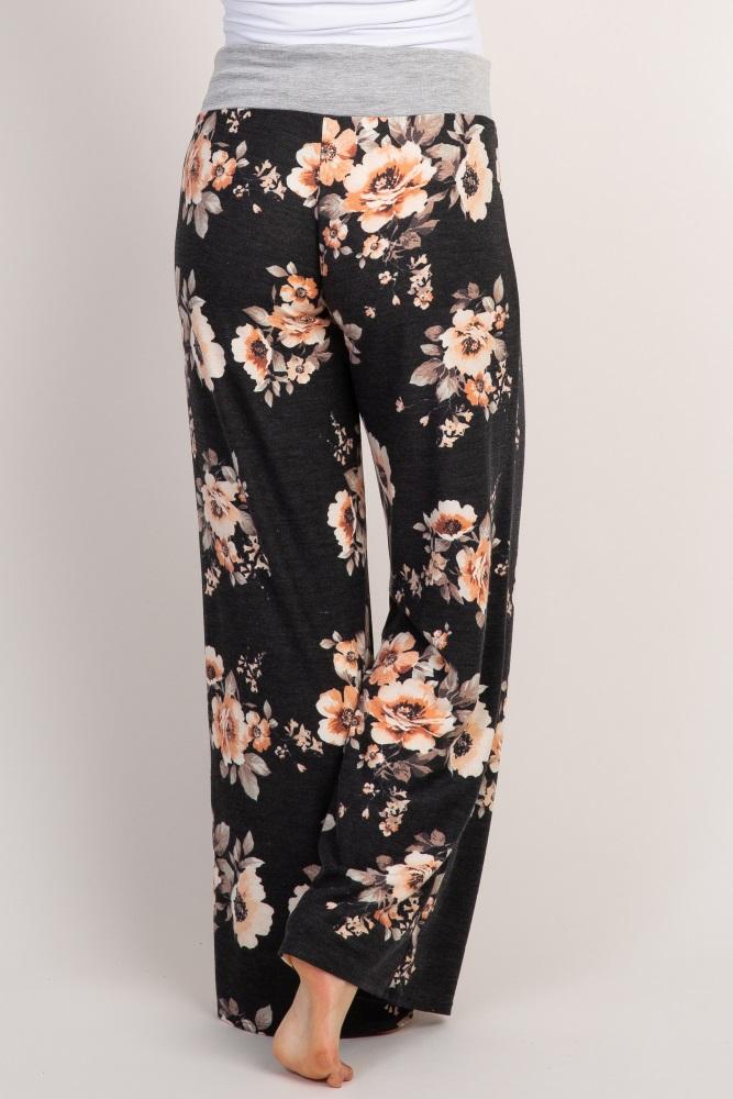 35f9860e5df56 Black Floral Maternity Pajama Pants