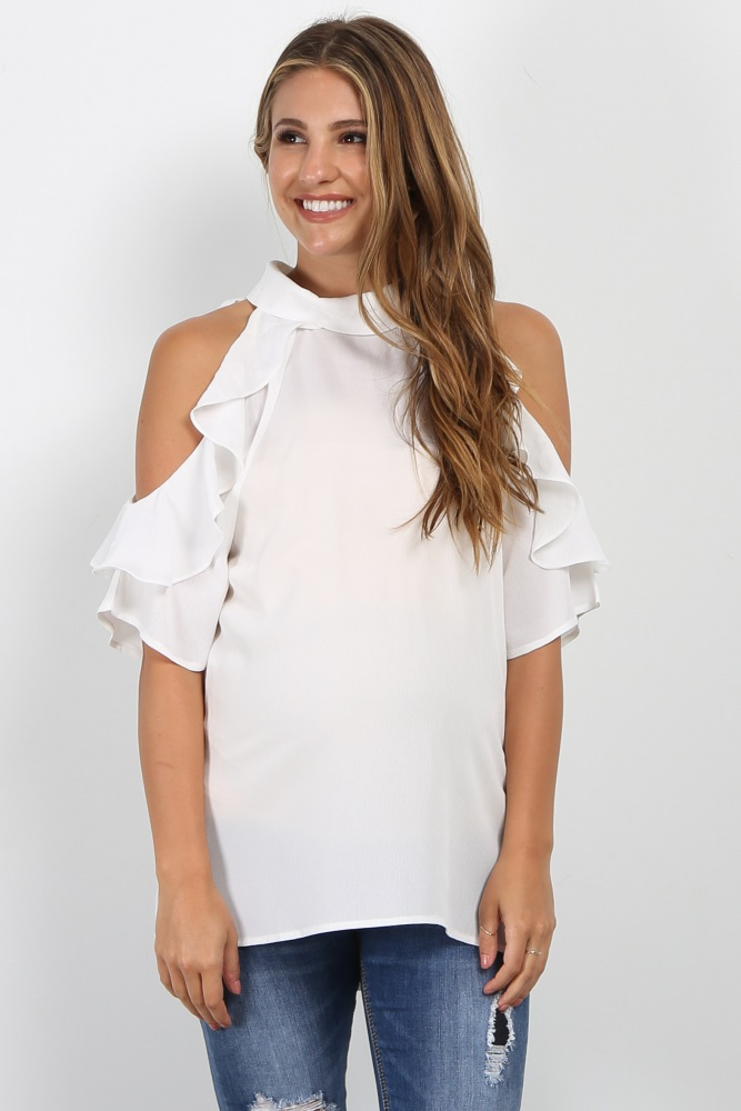 1534d59529b497 White High Neck Ruffle Cold Shoulder Maternity Top