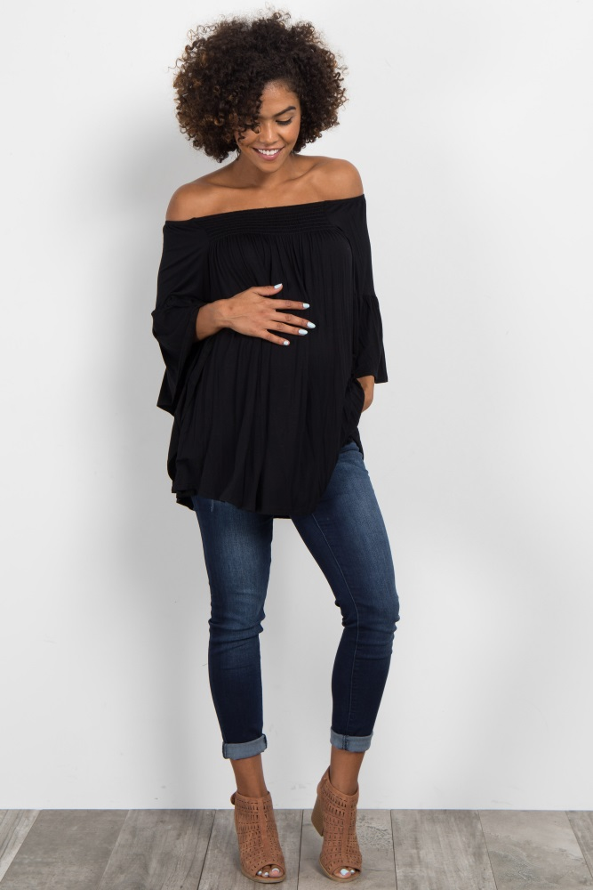 8b3c6f86865 Black Off Shoulder Bell Sleeve Maternity Top