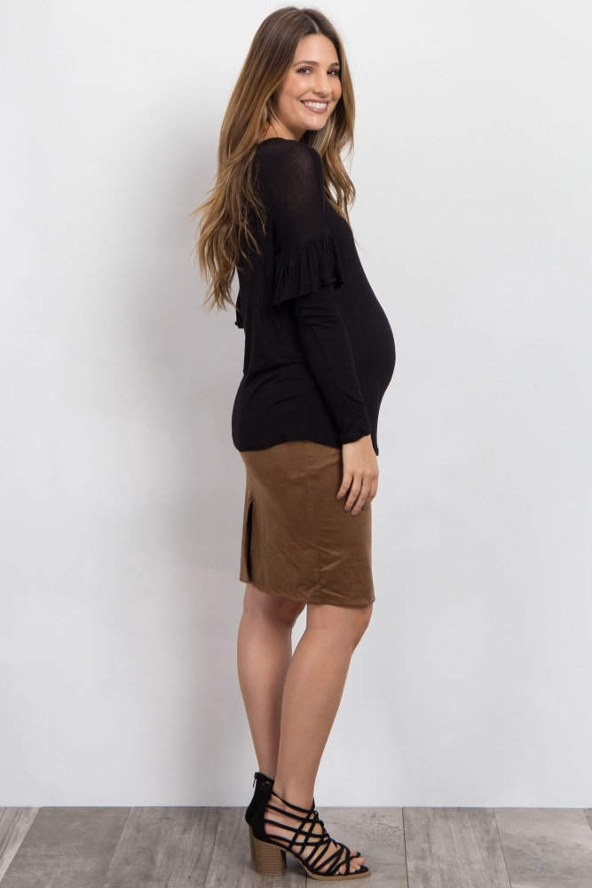 aca03fa214b Camel Suede Fitted Maternity Pencil Skirt