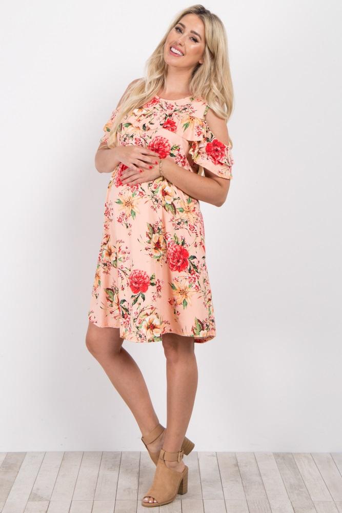 3aec90de1ca Light Pink Floral Ruffle Cold Shoulder Maternity Dress