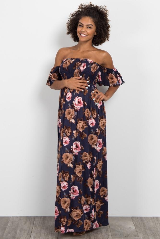 6fca6335a3ea Navy Blue Rose Floral Off Shoulder Maternity Maxi Dress