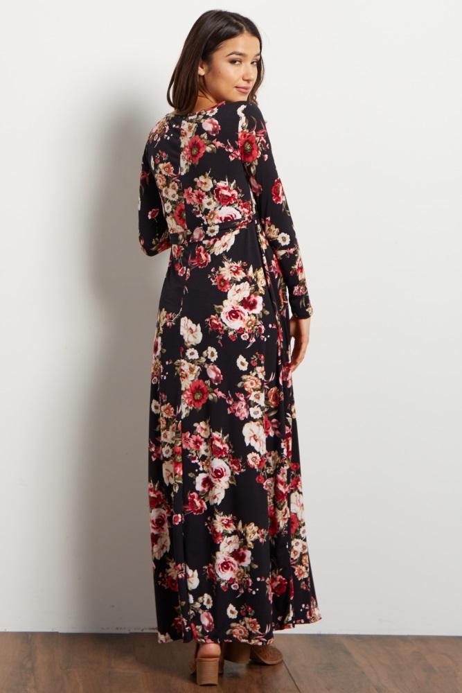 5fe80a5386ba Petite Black Floral Sash Tie Maternity Maxi Dress
