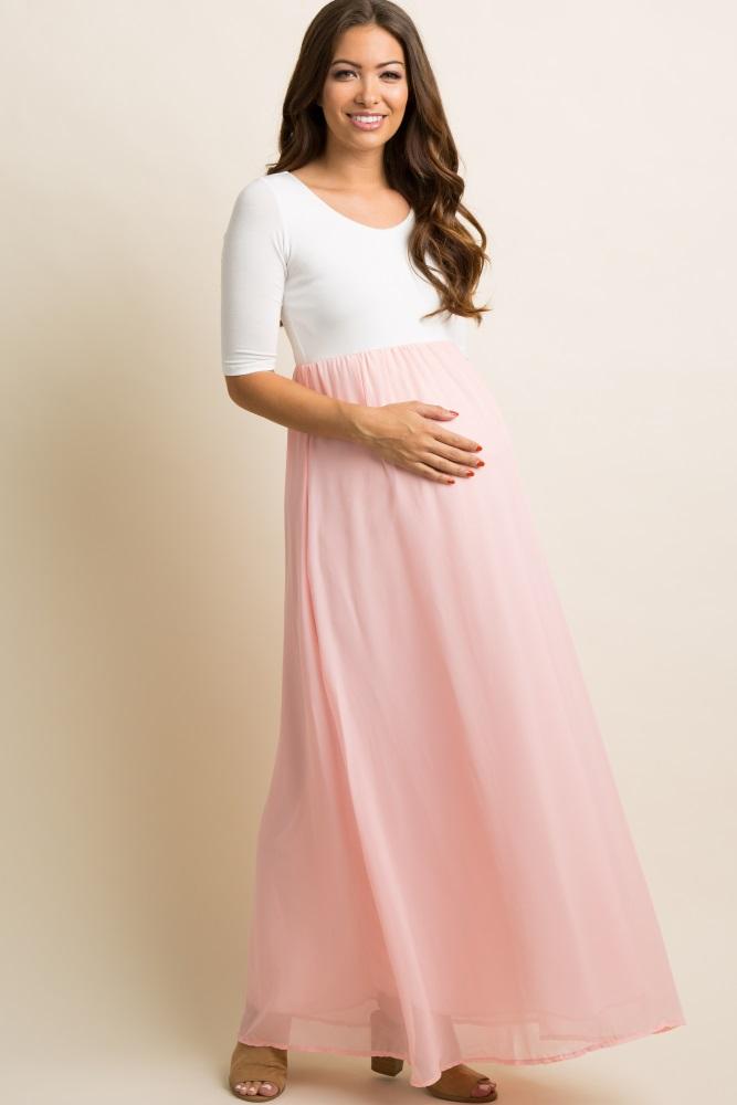fa7cf267efdbe Petite Light Pink Chiffon Colorblock Maternity Maxi Dress