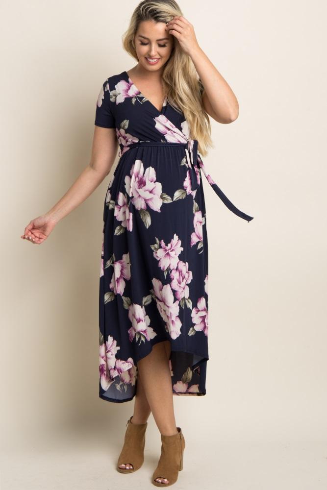 87a6979cc4526 Blue Floral Hi Low Maternity Wrap Dress