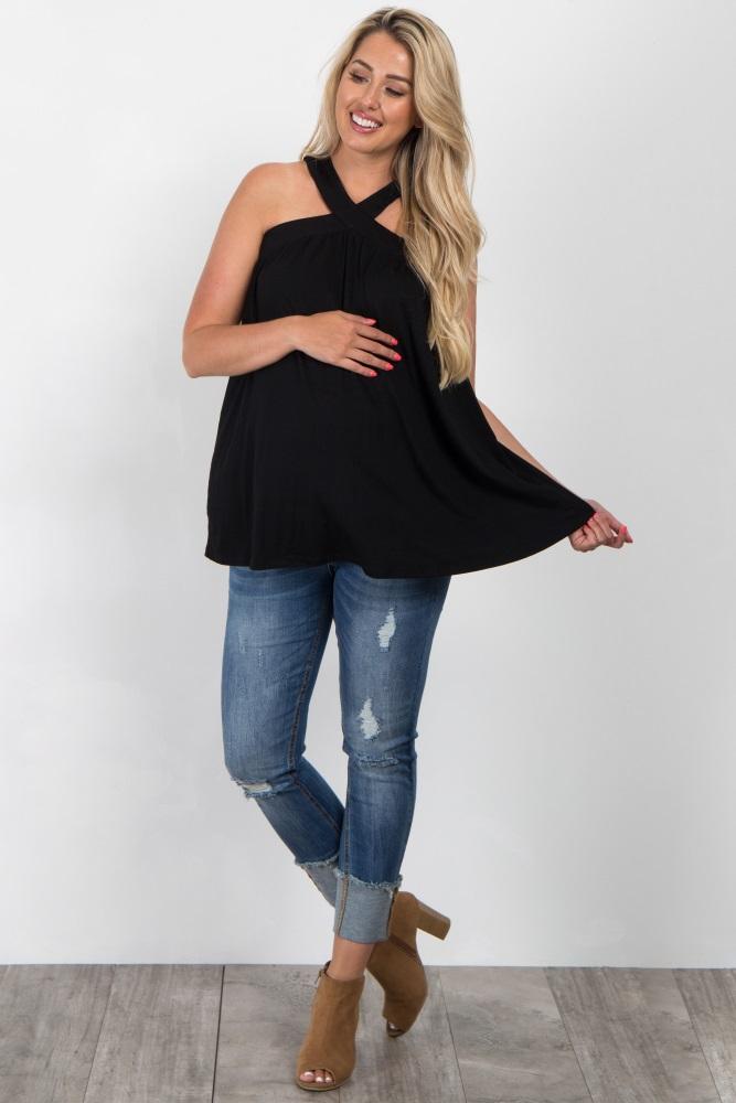 650966bde2e5 Black Sleeveless Halter Neck Maternity Top