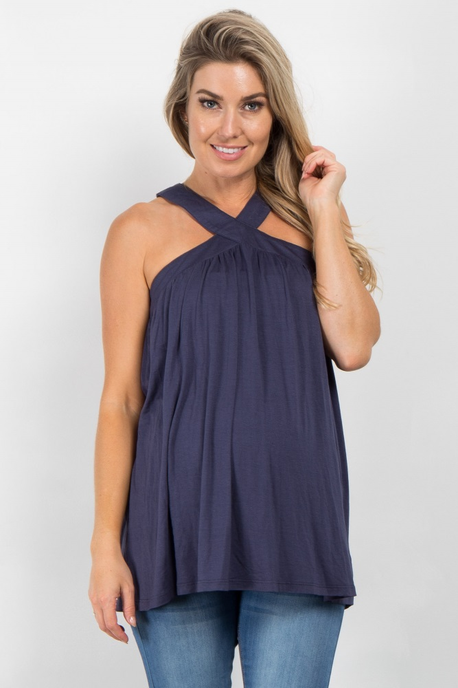 0098a2c83c73 Navy Blue Sleeveless Halter Neck Maternity Top