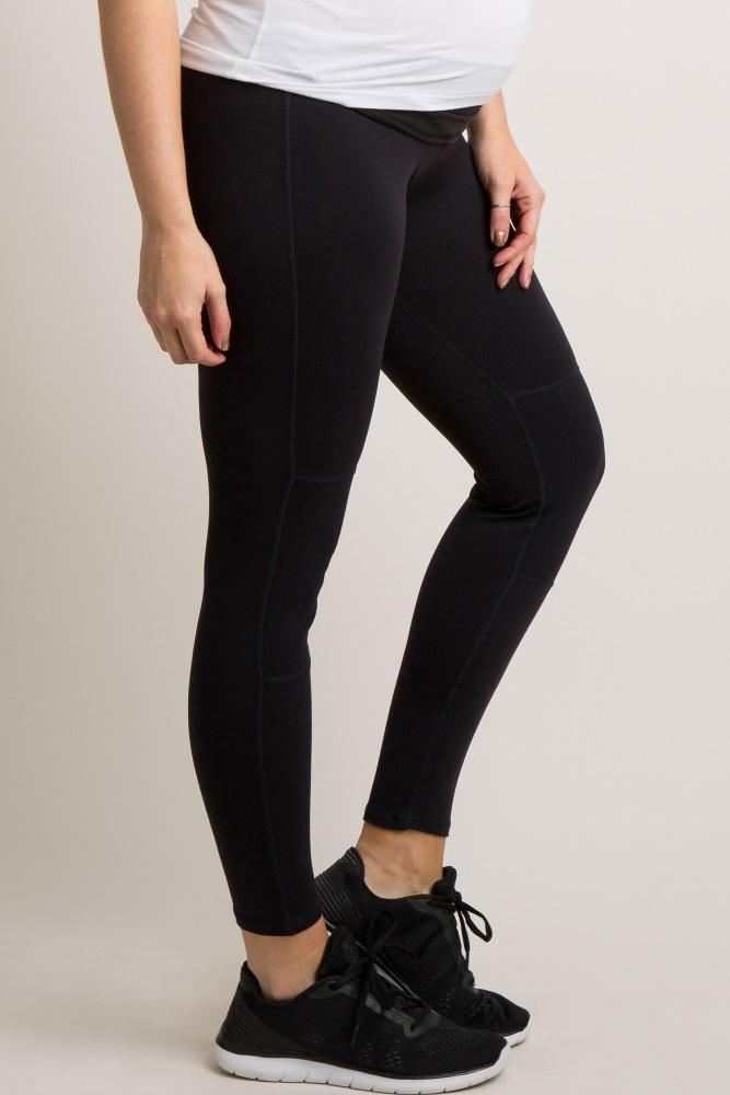 2aaf376d74dbd Black Ribbed Panel Active Maternity Leggings