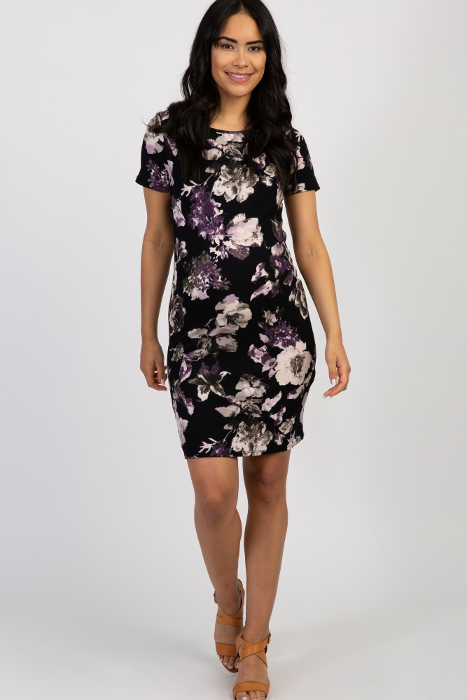 black floral print fitted maternity dress