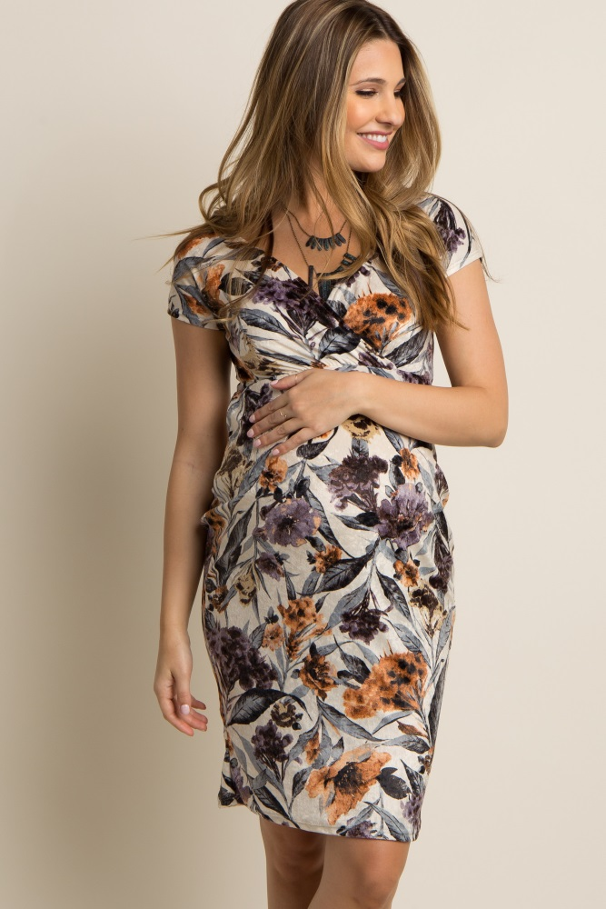 e9026a727d9 Ivory Floral Fitted Wrap Maternity Dress